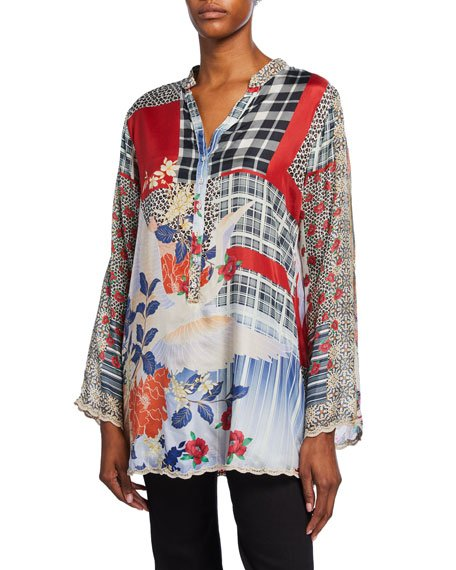 Petite Ample Mixed Media Long-Sleeve Silk Tunic w/ Mandarin Collar