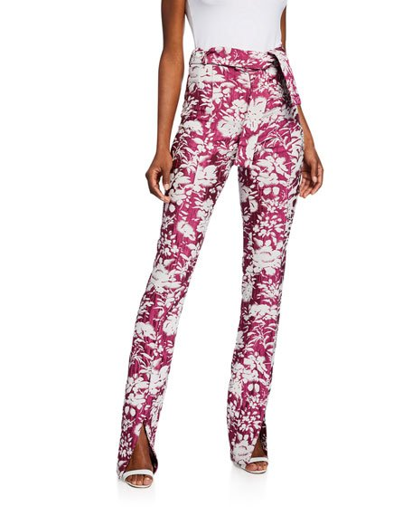 Burgos Floral Jacquard Split-Hem Pants