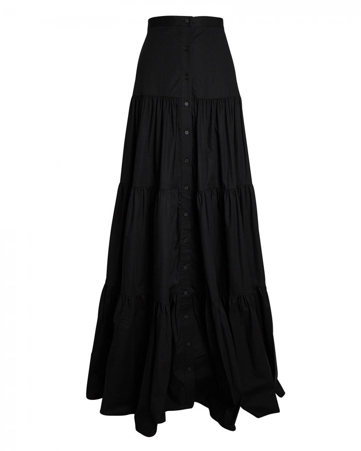 Tiered Poplin Maxi Skirt