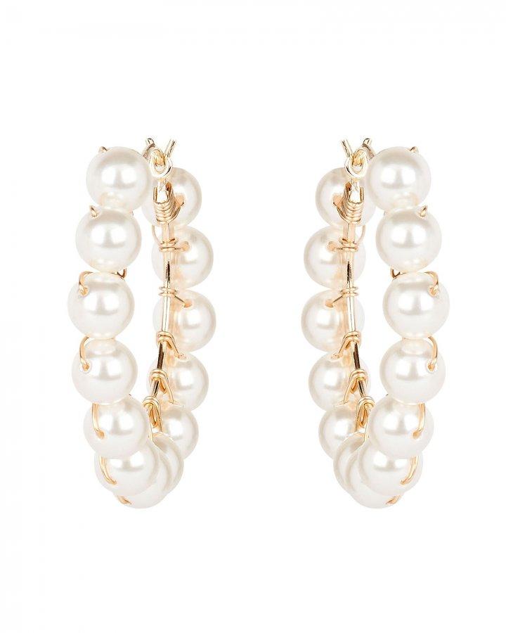 Dahlia Pearl Beaded Hoop Earrings