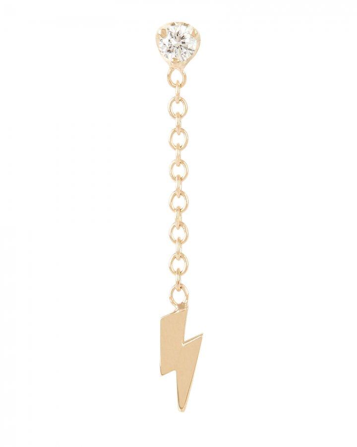 Lightning Bolt Single Stud Earring
