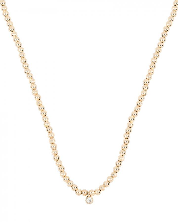 Beaded Bezel Diamond Necklace
