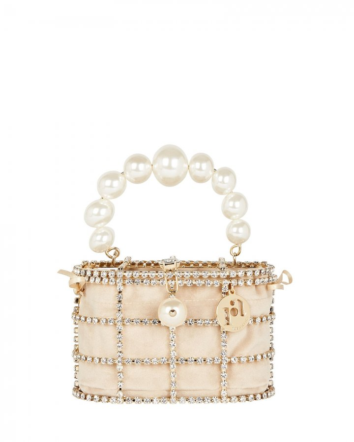 Mini Holli Crystal Cage Clutch