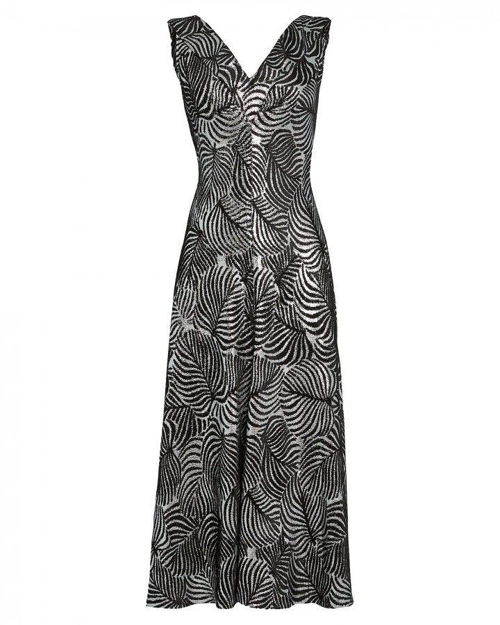 Leaf Jacquard Midi Dress