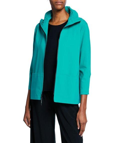 Plus Size Summer Stretch Zip-Front Jacket