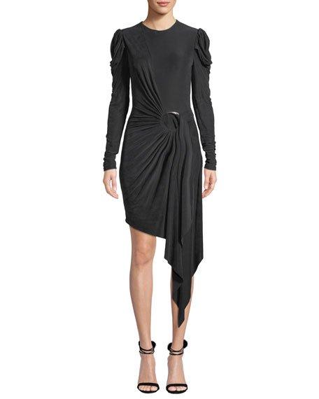 Sueded Jersey Asymmetric Wrap Dress