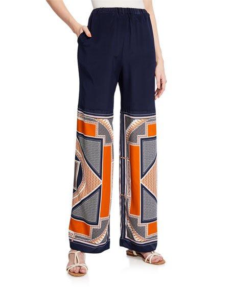 Bauhaus Scarf-Print Straight-Leg Pants