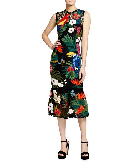 Tropical Embroidered Crocheted Dress