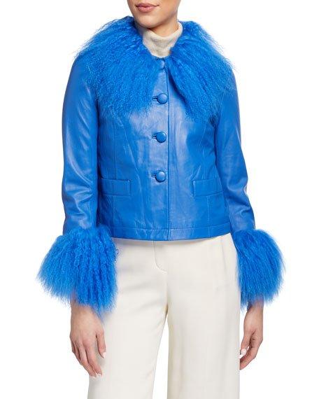 Dorthe Lamb Leather Shearling-Collar & Cuff Jacket, Blue