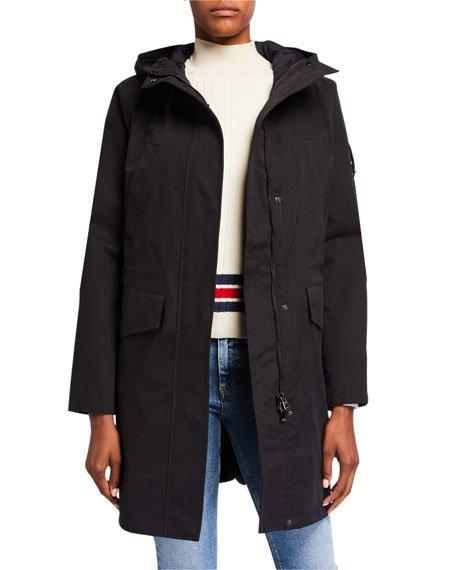 Long Hooded Parka, Black