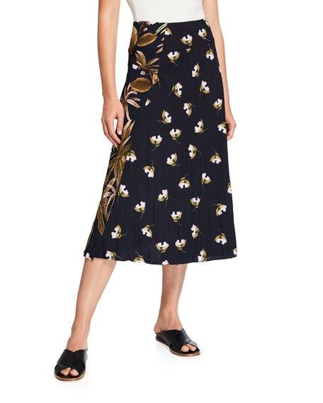 Mixed Tropical Garden A-Line Midi Skirt