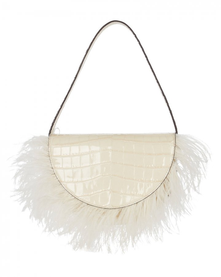 Amal Feather-Trimmed Leather Bag