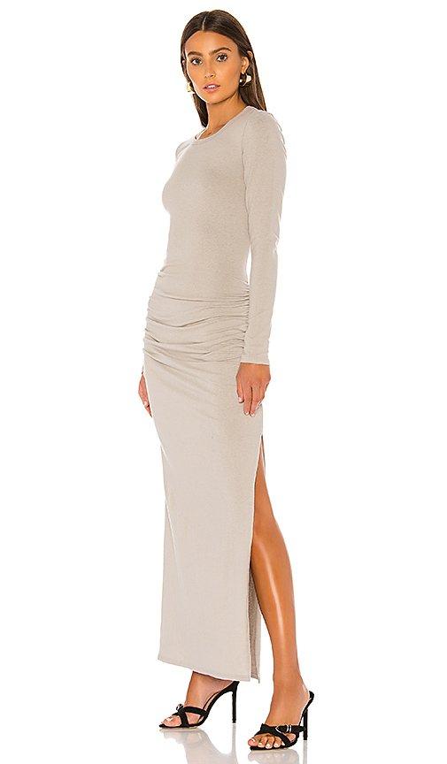 Sueded Jersey Long Sleeve Split Dress
