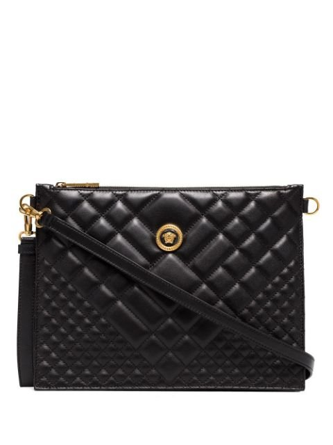 Versace Black Medusa Quilted Leather Clutch Bag Ss20 | Farfetch.com