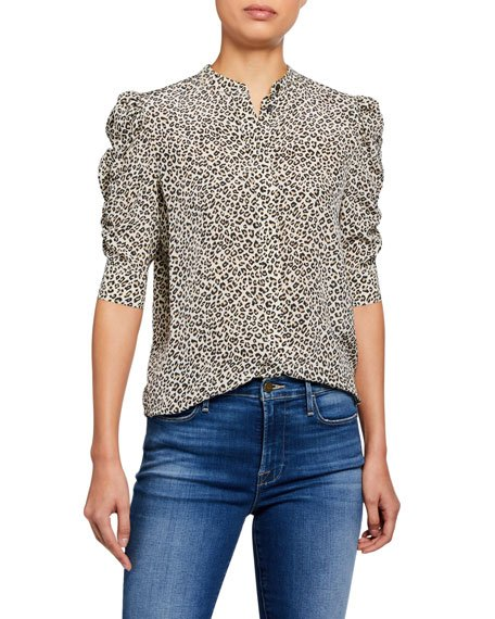 Animal-Print Shirred Sleeve Button-Up Top