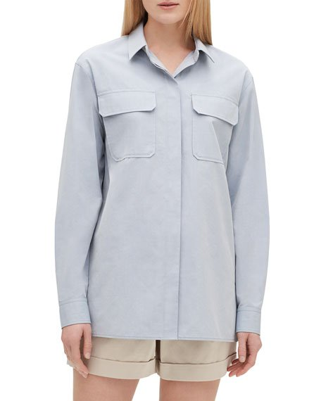 Everson Button-Down Sueded Italian Cotton Blouse