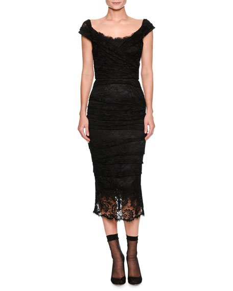 Cap-Sleeve Ruched Lace Fitted Cocktail Dress