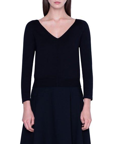 Stretch Silk 3/4-Sleeve Sweater