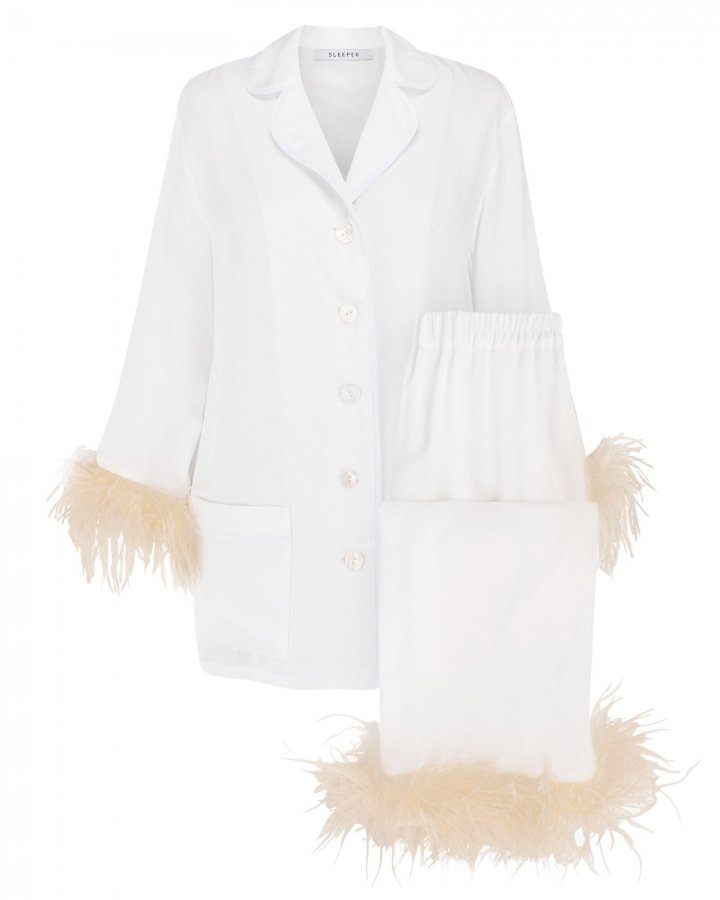 Feather-Trimmed Party Pajama Set