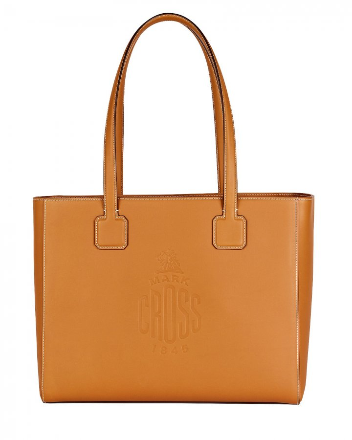 Cannes Logo Leather Tote Bag