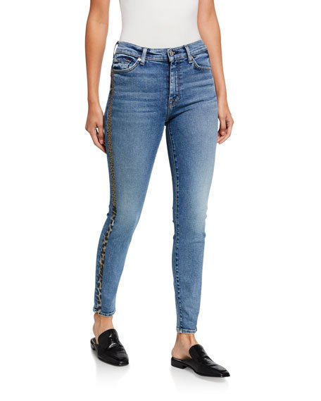 High-Waist Ankle Skinny with Metallic Coated Animal Stripes