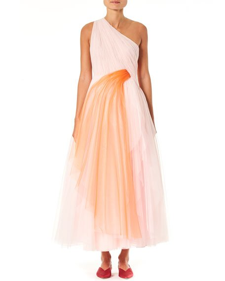 One-Shoulder Draped Tulle Dress