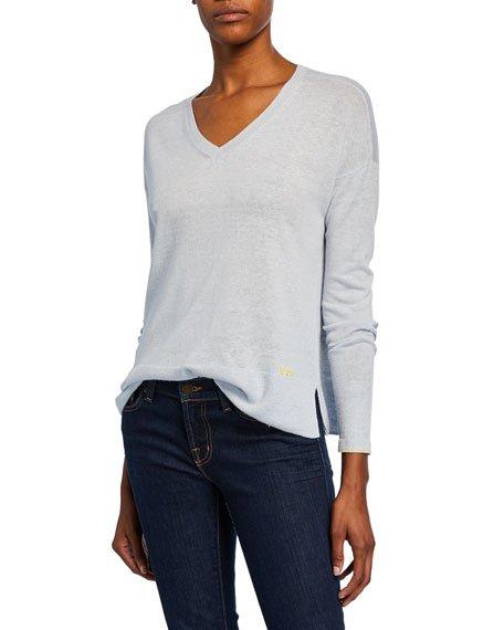 Plus Size Summer Shine Sequin-Elbow V-Neck Linen-Cotton Sweater