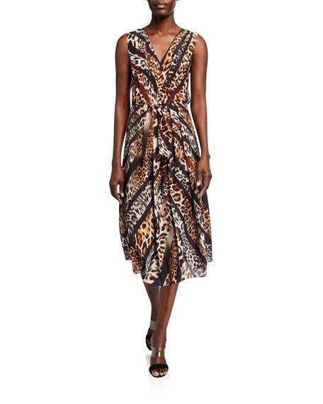 Beverly Animal-Print Sleeveless Midi Dress