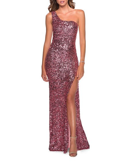 Sequin One-Shoulder Open-Back Gown