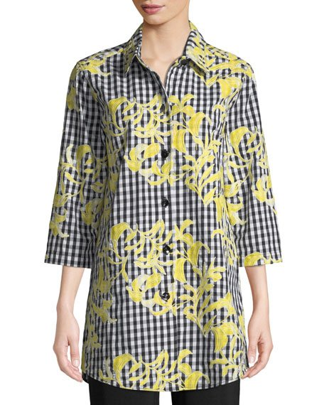 Hello Yellow Embroidered Button-Front Gingham Tunic