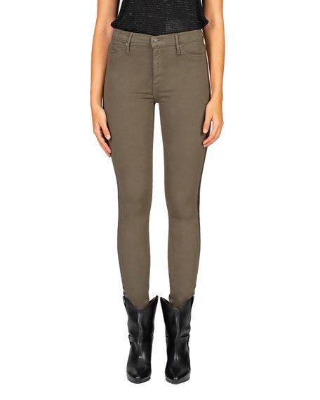 Gisele High-Rise Skinny Jeans w/ Foil Side Stripes