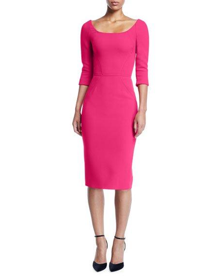 Bateau-Neck 3/4-Sleeve Body-Con Crepe Daytime Dress