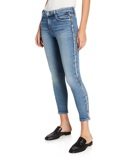 Mid-Rise Ankle Skinny Jeans with Metallic Stripes