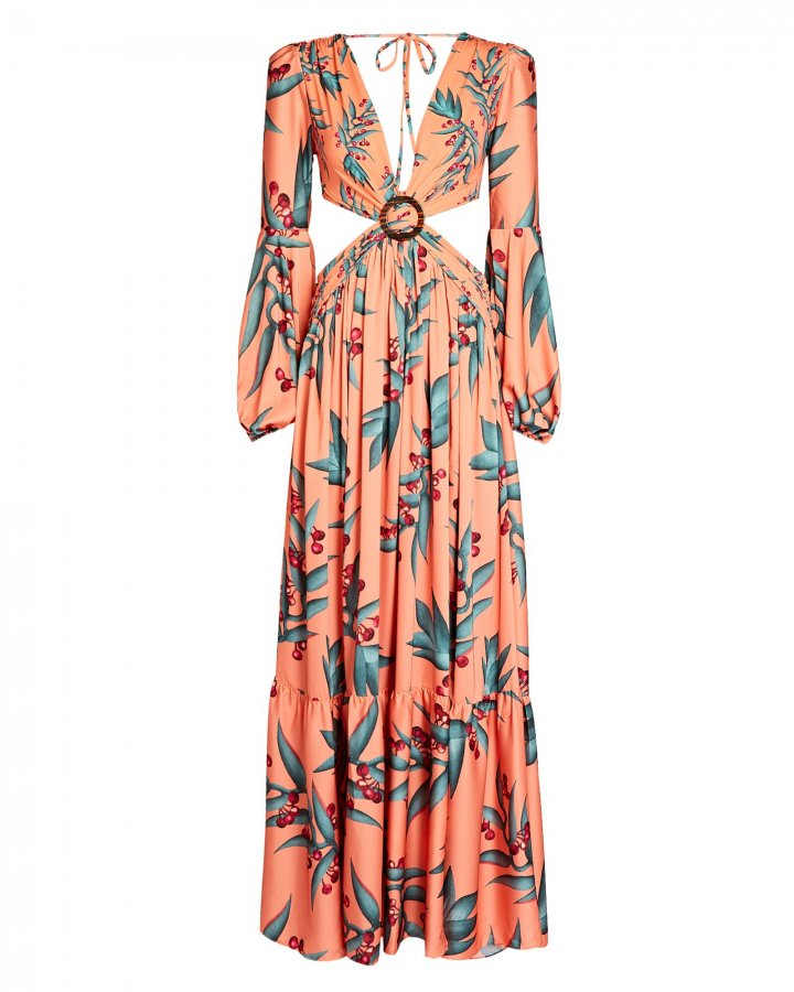 Printed Cut-Out Maxi Dress