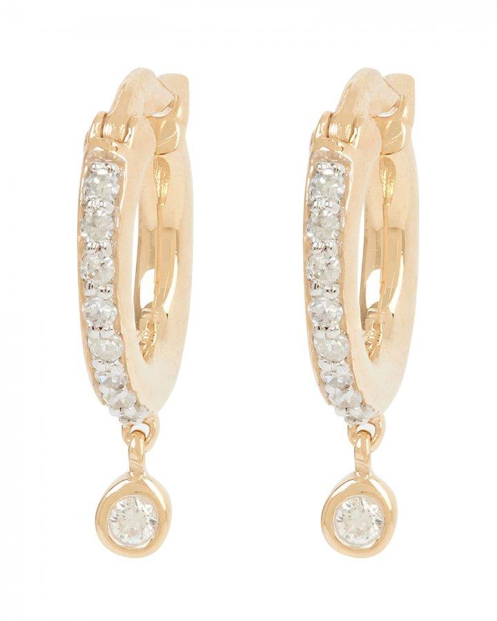 Pavé Diamond Drop Huggie Hoop Earrings