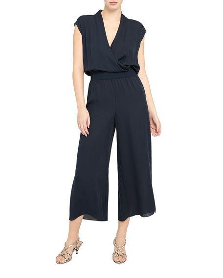 Wide-Leg Draped Silk Pull-On Pants