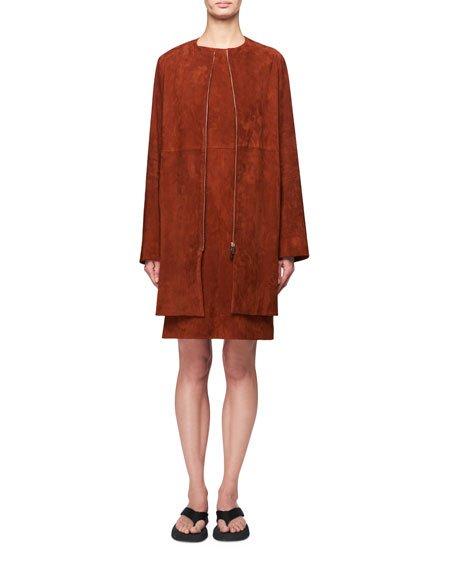 Anka Zip-Front Suede Coat