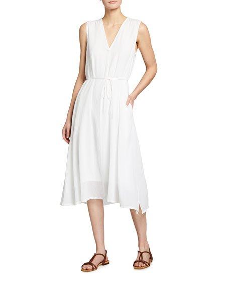 V-neck Waist Tie Midi Dress