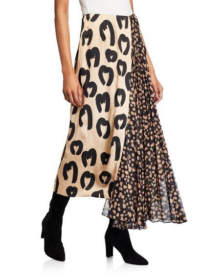 Marita Animal-Print Midi Skirt with Pleated Insert
