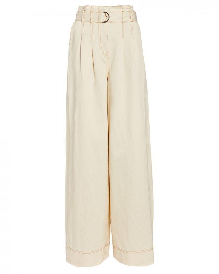 Rhodes Pleated Cotton-Linen Pants