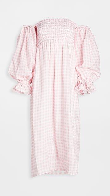 Atlanta Linen Dress in Pink Vichy