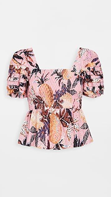 Pink Pineapple Smocked Top