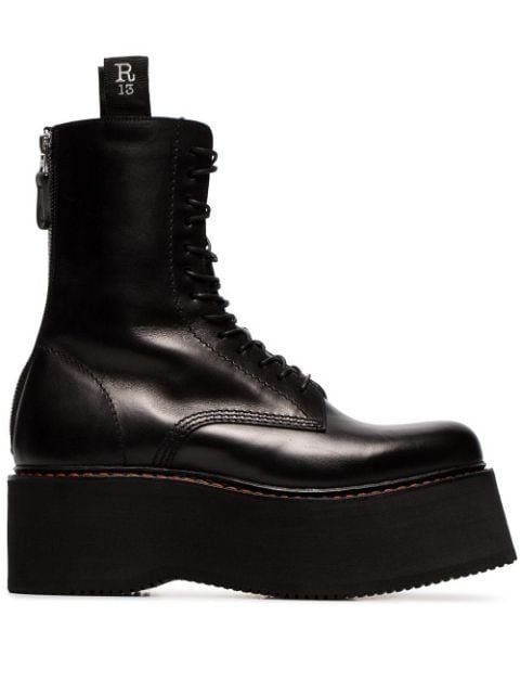 R13 Black Double Stack Lace-Up Leather Boots Ss20 | Farfetch.com