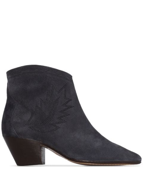Isabel Marant Dacken 50Mm Embroidered Suede Ankle Boots Ss20 | Farfetch.com