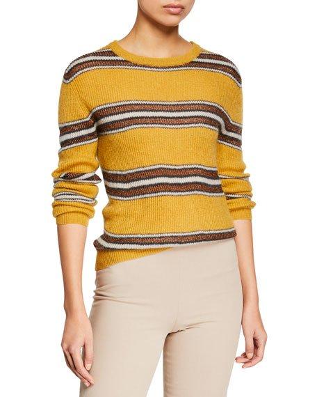 Shimmer-Striped Crewneck Sweater