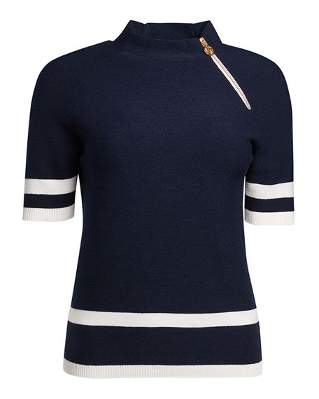 Nautical Knit Wool Sweater with Zip Detail