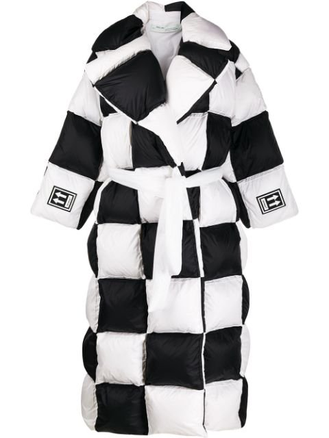 Off-White Checkered Puffer Coat Aw19 | Farfetch.com