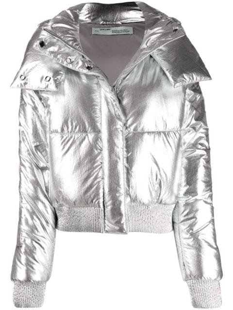 Off-White Metallic Puffer Jacket Aw19 | Farfetch.com