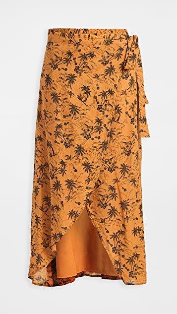Island Print Wrap Skirt
