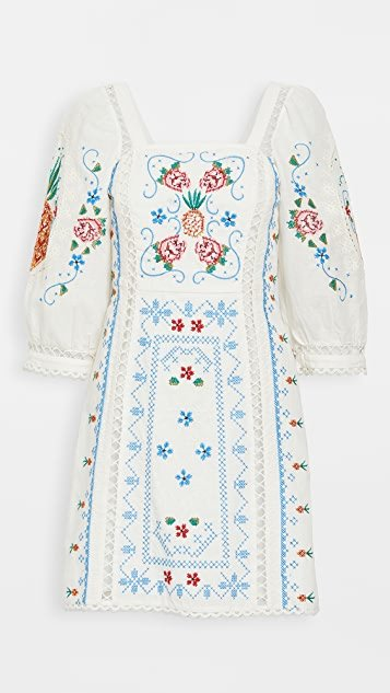 Romantic Embriodery Mini Dress